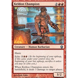 Magic Löskort: Premium Deck - Fire and Lightning: Keldon Champion	(Foil)