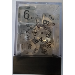 Transparent Polyhedral Dice Box (7, Clear/black)