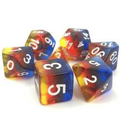 Transparent Burning Cloud dice set (7-Die set)