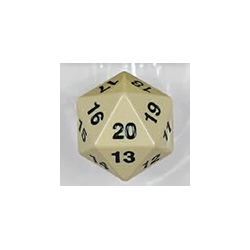 Spindown d20 dice, 55mm - Ivory