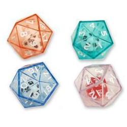 Double Dice d20 Clear Shell w/Internal Translucent Red/white d20