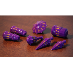 PolyHero Dice: Warrior 7-Dice Set Vorpal Purple & Amber