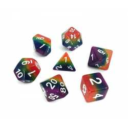 Opaque Rainbow (7-Die set) in plastic cube