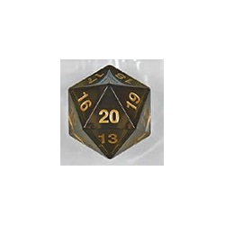 Spindown d20 dice, 55mm - Transparent Smoke