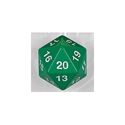 Spindown d20 dice, 30mm - Green