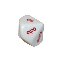 Spanish Worded 1-10 White/red d10