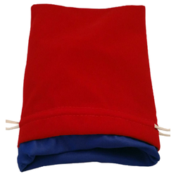 6″ x 8″ Red Velvet Dice Bag with Blue Satin Lining