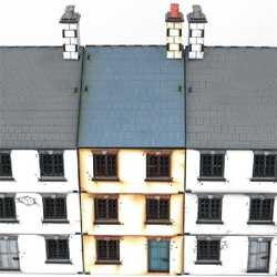 28mm  Three Storey Mid Terrace House (Painted)