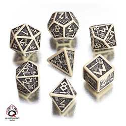 Dwarven Dice Set (Black and Beige)