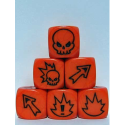 Fantasy Football Block Dice - Flaming Skull Orange/Black (3st)