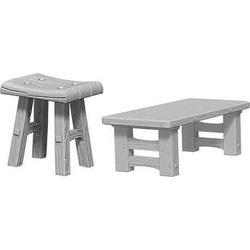 Deep Cuts (unpainted): Wooden Table & Stools (5)