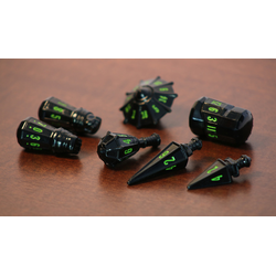 PolyHero Dice: Warrior 7-Dice Set Black & Goblin Green