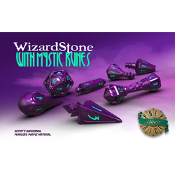 PolyHero Dice: Wizard 7-Dice Set Wizardstone with Mystic Runes