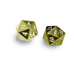 Ultra Pro Heavy Metal D20 2-Dice Set - Gold w/ White