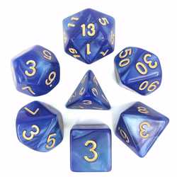 Blue/Gold Pearl Dice (7-Die set)