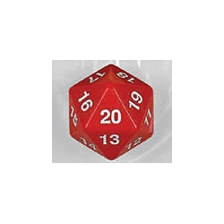 Spindown d20 dice, 55mm - Red