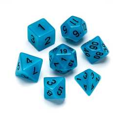 Resin Fluorescence Series: Blue - Numbers: Black 7-die Set