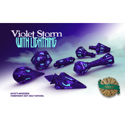 PolyHero Dice: 1d20 Wizard's Hat - Violet Storm with Lightning