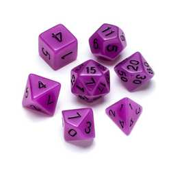 Resin Dice: Fluorescence Series Purple - Numbers: Black 7-die Set