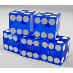 Blue Casino Dice with Serial (Set of 5), 19mm