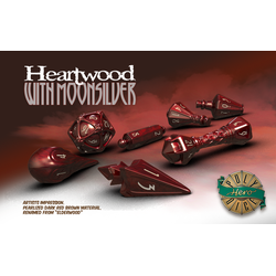 PolyHero Dice: Wizard 7-Dice Set Heartwood with Moonsilver
