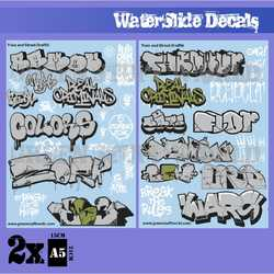 Waterslide Decals - Train and Graffiti - Silver and Gold