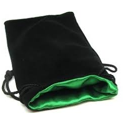 "3,75"" x 4"" Velvet Bag Green inside/Black outside"