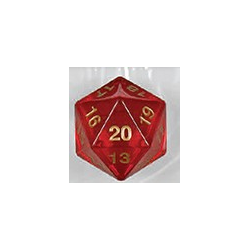 Spindown d20 dice, 55mm - Transparent Red