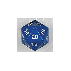 Spindown d20 dice, 30mm - Blue