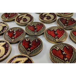 Broken Wounded Heart Metal Health/Wound Tokens (10)