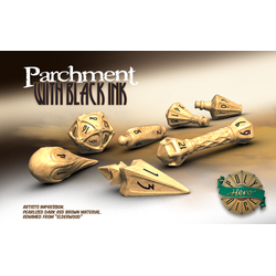 PolyHero Dice: 3d8 Scrolls - Parchment with Black Ink