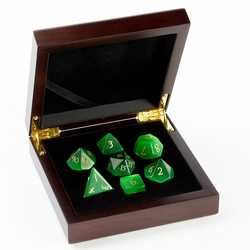 Stone Dice: Cats Eye - Green 7-die Set