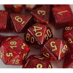 Glitter Ruby w/gold (36-dice set)