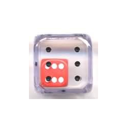 Double Dice 1d6 inside d6 (25mm) Clear Shell w/internal Red/white d6