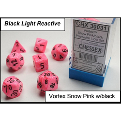 Lab Dice Vortex Snow pink/black 7-Die Set