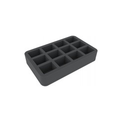 Feldherr 40mm Half-size 12 slot foam tray for Blood Bowl miniatures - 2016 Edition