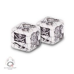 D6 Pirate Dice White w/ Black (2)