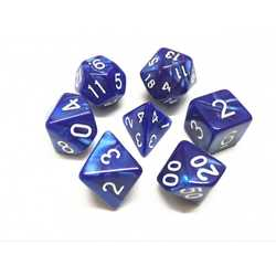 Blue/White Pearl Dice (7-Die set)