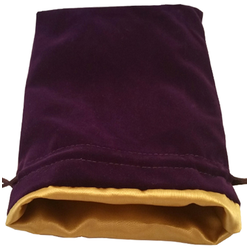 6″ x 8″ Purple Velvet Dice Bag with Gold Satin Lining