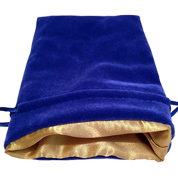 4″ x 6″ Blue Velvet Dice Bag with Gold Satin Lining