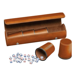 Dice cup set (5) with case and dice (brown)