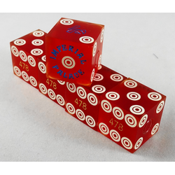 Cancelled Casino Dice Red Sanded Bullseye (Set of 5), 19mm