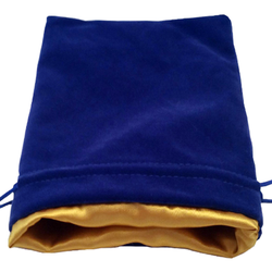 6″ x 8″ Blue Velvet Dice Bag with Gold Satin Lining