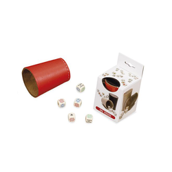 Dal Negro Red Leather Dice Cup with Poker Dice (tärningskopp)
