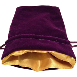 4″ x 6″ Purple Velvet Dice Bag with Gold Satin Lining