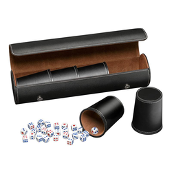 Dice cup set (5) with case and dice (black)